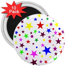 Stars Pattern Background Colorful Red Blue Pink 3  Magnets (10 pack)