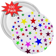 Stars Pattern Background Colorful Red Blue Pink 3  Buttons (100 pack)
