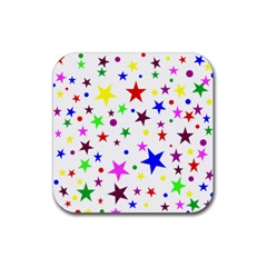 Stars Pattern Background Colorful Red Blue Pink Rubber Square Coaster (4 Pack)