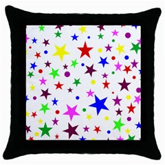 Stars Pattern Background Colorful Red Blue Pink Throw Pillow Case (Black)