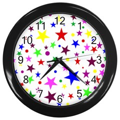 Stars Pattern Background Colorful Red Blue Pink Wall Clocks (Black)