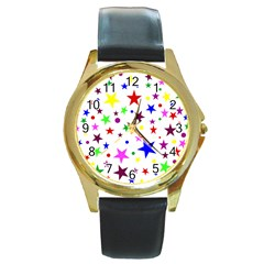 Stars Pattern Background Colorful Red Blue Pink Round Gold Metal Watch