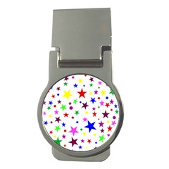 Stars Pattern Background Colorful Red Blue Pink Money Clips (Round)