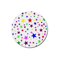 Stars Pattern Background Colorful Red Blue Pink Rubber Coaster (Round)