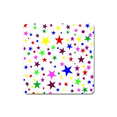 Stars Pattern Background Colorful Red Blue Pink Square Magnet