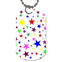 Stars Pattern Background Colorful Red Blue Pink Dog Tag (One Side)