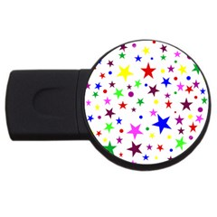 Stars Pattern Background Colorful Red Blue Pink USB Flash Drive Round (1 GB)