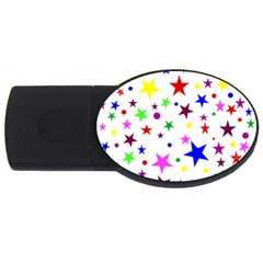 Stars Pattern Background Colorful Red Blue Pink USB Flash Drive Oval (2 GB)