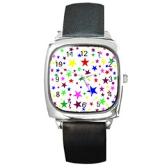 Stars Pattern Background Colorful Red Blue Pink Square Metal Watch