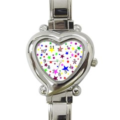 Stars Pattern Background Colorful Red Blue Pink Heart Italian Charm Watch