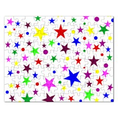 Stars Pattern Background Colorful Red Blue Pink Rectangular Jigsaw Puzzl