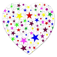 Stars Pattern Background Colorful Red Blue Pink Jigsaw Puzzle (Heart)