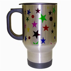 Stars Pattern Background Colorful Red Blue Pink Travel Mug (silver Gray)