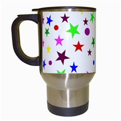 Stars Pattern Background Colorful Red Blue Pink Travel Mugs (White)