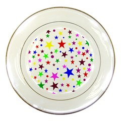 Stars Pattern Background Colorful Red Blue Pink Porcelain Plates