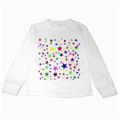 Stars Pattern Background Colorful Red Blue Pink Kids Long Sleeve T-Shirts