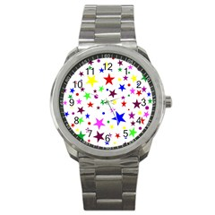 Stars Pattern Background Colorful Red Blue Pink Sport Metal Watch
