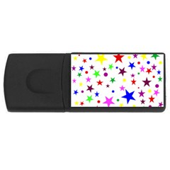 Stars Pattern Background Colorful Red Blue Pink USB Flash Drive Rectangular (4 GB)