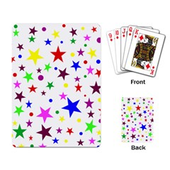Stars Pattern Background Colorful Red Blue Pink Playing Card