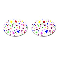 Stars Pattern Background Colorful Red Blue Pink Cufflinks (Oval)