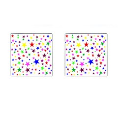 Stars Pattern Background Colorful Red Blue Pink Cufflinks (square)