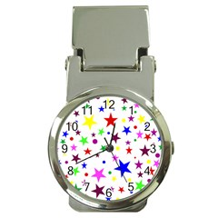 Stars Pattern Background Colorful Red Blue Pink Money Clip Watches