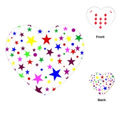 Stars Pattern Background Colorful Red Blue Pink Playing Cards (Heart)