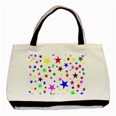 Stars Pattern Background Colorful Red Blue Pink Basic Tote Bag