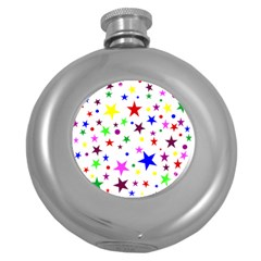 Stars Pattern Background Colorful Red Blue Pink Round Hip Flask (5 oz)