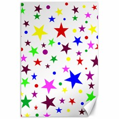 Stars Pattern Background Colorful Red Blue Pink Canvas 24  x 36