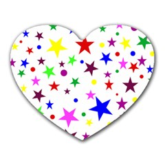 Stars Pattern Background Colorful Red Blue Pink Heart Mousepads