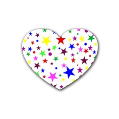 Stars Pattern Background Colorful Red Blue Pink Rubber Coaster (Heart)