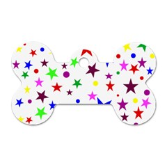 Stars Pattern Background Colorful Red Blue Pink Dog Tag Bone (one Side)