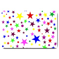 Stars Pattern Background Colorful Red Blue Pink Large Doormat