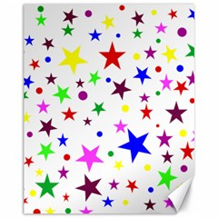 Stars Pattern Background Colorful Red Blue Pink Canvas 11  x 14