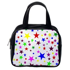 Stars Pattern Background Colorful Red Blue Pink Classic Handbags (One Side)