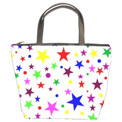 Stars Pattern Background Colorful Red Blue Pink Bucket Bags