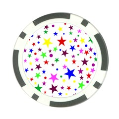 Stars Pattern Background Colorful Red Blue Pink Poker Chip Card Guard (10 pack)