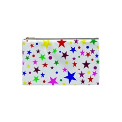 Stars Pattern Background Colorful Red Blue Pink Cosmetic Bag (Small)