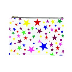 Stars Pattern Background Colorful Red Blue Pink Cosmetic Bag (Large)
