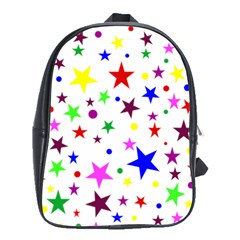 Stars Pattern Background Colorful Red Blue Pink School Bags(large)