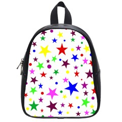 Stars Pattern Background Colorful Red Blue Pink School Bags (Small)