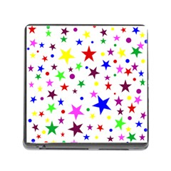 Stars Pattern Background Colorful Red Blue Pink Memory Card Reader (Square)