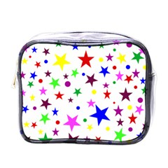 Stars Pattern Background Colorful Red Blue Pink Mini Toiletries Bags