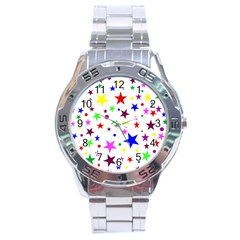 Stars Pattern Background Colorful Red Blue Pink Stainless Steel Analogue Watch