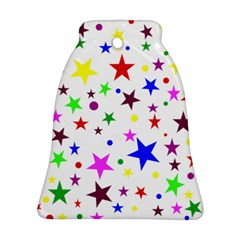 Stars Pattern Background Colorful Red Blue Pink Ornament (Bell)