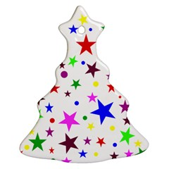 Stars Pattern Background Colorful Red Blue Pink Christmas Tree Ornament (Two Sides)