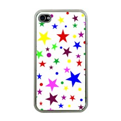 Stars Pattern Background Colorful Red Blue Pink Apple iPhone 4 Case (Clear)