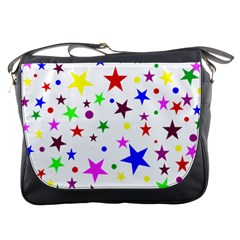 Stars Pattern Background Colorful Red Blue Pink Messenger Bags
