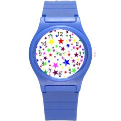 Stars Pattern Background Colorful Red Blue Pink Round Plastic Sport Watch (S)